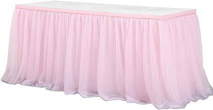 STOBOK Falda de Mesa de Falda de Mesa de tutú de Tul para la Boda Fiesta de cumpleaños Fiesta de Bienvenida al bebé Decoración del hogar (Rosa)