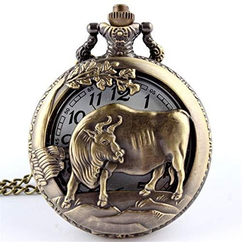 LiQinKeJi8 Reloj de Bolsillo Reloj de Bolsillo de Cuarzo de Bronce de Vaca para Hombre Colgante Colgante Collar de Cadena de Zodiaco Regalo para Hombres Mujeres (Color : Shown as The Picture)