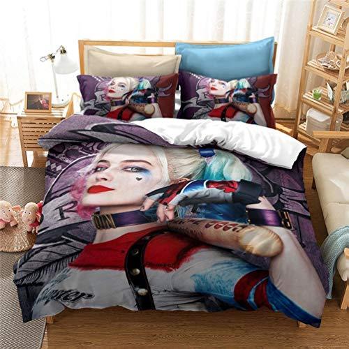 SK-YBB Amacigana Harley Quinn Parure de lit pour enfant avec housse de couette et taies d'oreiller Motif clown (1,200 x 200 cm)