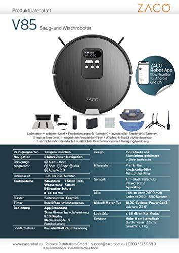 ZACO V85 Saugroboter mit Wischfunktion, App & Alexa Steuerung, 8cm flach, automatischer Staubsauger Roboter, 2in1 Wischen oder Staubsaugen, für Hartböden, Fallschutz, mit Ladestation - 13