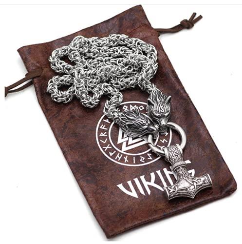 Xinyexinwang Odin Crows con Thor Hammer Mjolnir Collar Collar-Lobo Cadena de Lobo Vikingo, Mitología Nórdica Hombres Joyería Pagan Amuleto,80cm