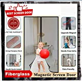 Upgrade Magnetic Screen Door 72x80 Inches, Mkicesky Reinforced Fiberglass Double Mesh Curtain with Longest Magnets, Full Frame Hook & Loop, Auto Closer,Bug-Offs Fits Door Size Up to 70'x79' Max-Black