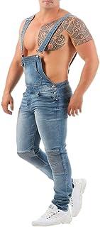 Uomo Basic Denim Bib Overalls Loose Fit Tempo Libero Salopette Strappati Trousers Jeans