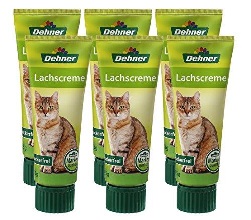 Dehner Katzensnack, Lachscreme in Lebensmittelqualität, 6 x 75 g (450 g)