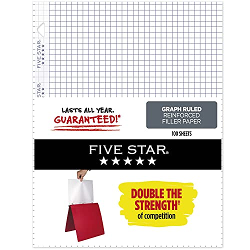 Five star loose leaf paper, 3 hole punched, reinforced filler paper,...