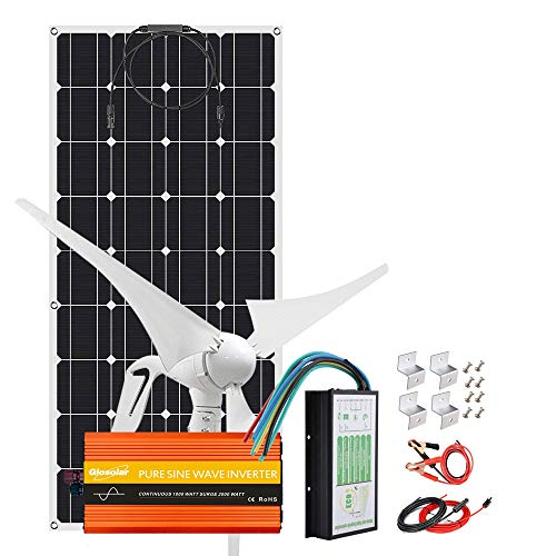 500W Solar Panel Wind Turbine Kit Off Grid System For Motorhomes,12V Battery Charger With 400W Wind Generator + 1pc 100W Flexible PV Panels + 1000W Inverter + Controller + Accessory