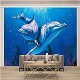 Msrahves Fotomural Vinilo Azul océano animales delfines Xxl Papel Pintado Tejido No Tejido Decoración De Pared Decorativos Murales Moderna De Diseno Fotográfico Fotomurales 3D