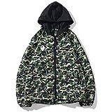 LODJ Bape Ape Shark Camo Hoodie Fashion Casual Teenage Adult Unisex Jacket, Destaca Entre la Multitud-Verde_Metro
