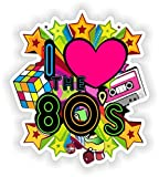I love 80's Vinyl Sticker for Car Motorcycle Bicycle Luggage Skateboard Laptop Guitar Stickers - 4 Inches