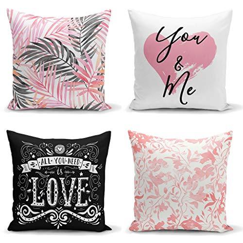 YSAHOME Floral Decor kussensloop - Alles wat je nodig hebt is liefde geciteerd vierkante kussensloop - briefpapier kussensloop - liefde thema decoratief accent kussen, 18x18 inch, zwart wit roze (set van 4)