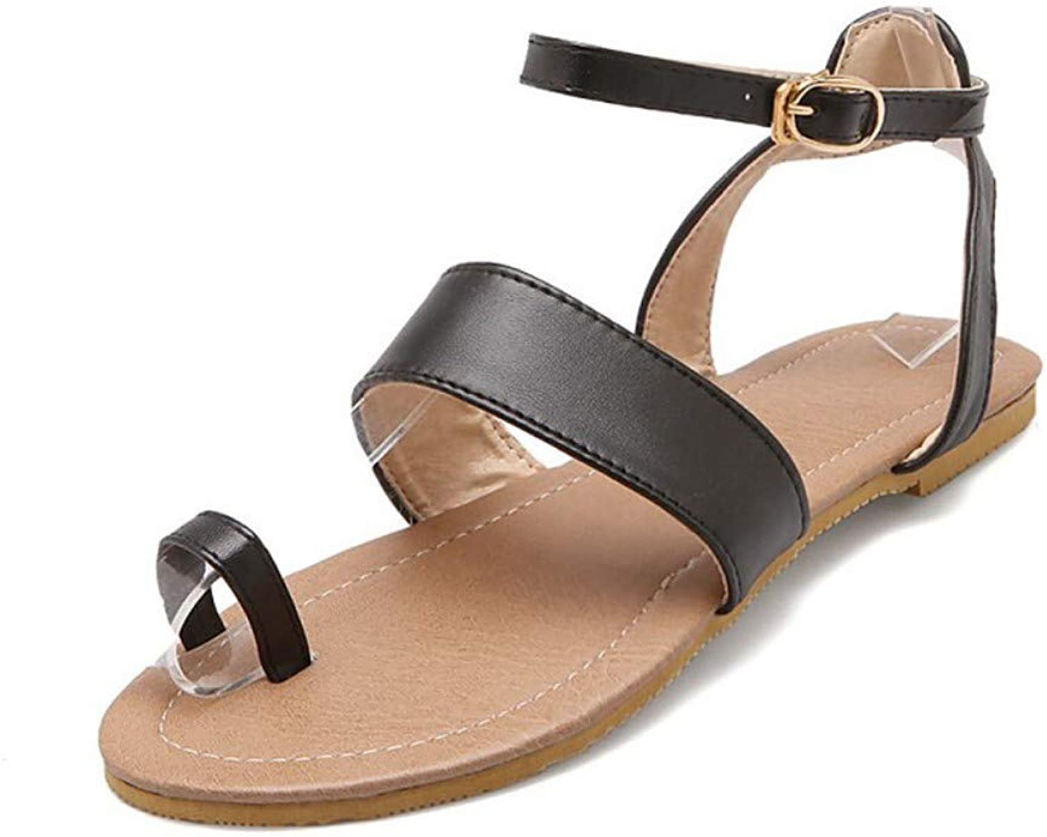 IWlxz Women's PU(Polyurethane) Spring & Summer Sandals Flat Heel Open Toe Buckle Black Beige Almond