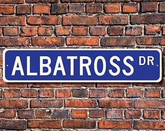 Albatross, Albatross Gift, Albatross teken, grote zee vogel, oceaan gebied vogel, volière teken, Aangepaste Straat teken, Kwaliteit Metaal Teken