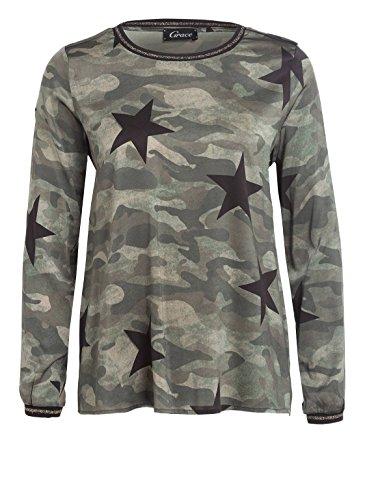 Grace Damen Tunika Seidenshirt Camouflage mit Sternen-Print, Größe:M