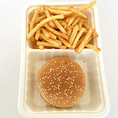 Miamex – Set di 50 scatole per alimenti con coperchio/Lunch Box in bagassa, capacità 800 ml, 2 scomparti