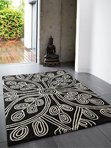 Benuta Wollteppich Matrix Kaya Schwarz 160x230 cm/Naturfaserteppich für Wohnzimmer und Schlafzimmer