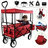 Collapsible Outdoor Utility Lightweight Wagon Cart with Top...