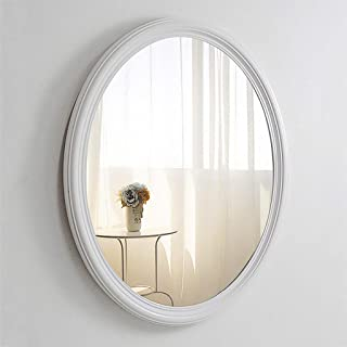 MXD Mirror Oval White Bathroom Mirror Anti-Fog Bathroom Mirror Simple Style