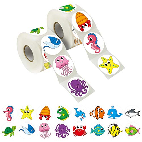 600 Adorable Round Sea Animal Stickers in 16 Designs with Perforated Line Expanded Version (Each Measures 1.5' in Diameter)