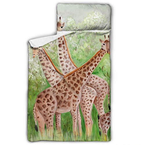 WYYWCY Originalgemälde schöne Giraffen Masai Mara Mädchen Nickerchen Matten Kind Nickerchen Matte mit Decke und Kissen Rollup Design ideal für Vorschule Kindertagesstätte Sleepovers 50