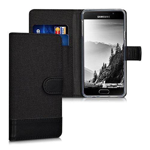 kwmobile Wallet Hülle kompatibel mit Samsung Galaxy A3 (2016) - Hülle Kunstleder mit Kartenfächern Stand in Anthrazit Schwarz