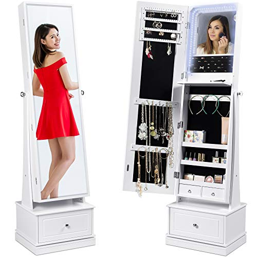 Best Choice Products 360 Swivel Mirrored Jewelry Cabinet Full Length Armoire LED-Lit Makeup Storage Organizer wInternal Lights Mirror 3 Storage Shelves 3 Drawers - White
