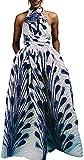 OLIPHEE Mujer Vestido Africano Floral Falda Multifuncional Fiestas Elegante Larga Fondo Blancos-1