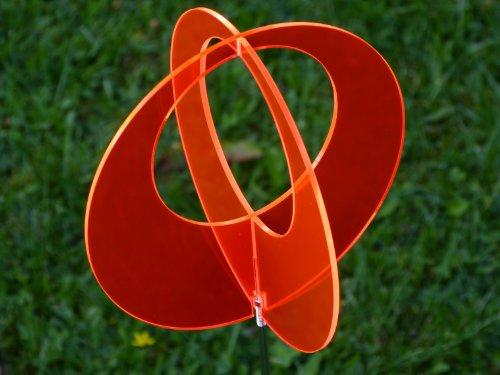 LISA frank boule de jardin en 2 parties-rouge - 9,5 cm, 50 cm, manche en métal-vitrail/suncatcher