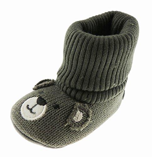 Super mignon bébé garçons filles tricot smiley visage ours bottes tricot chaussettes chaussettes chaussettes (9–15 mois, anthracite)