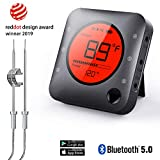 Wireless BBQ Thermometer,Premium Bluetooth Digital Smart Meat Thermometer,2 Upgrade Stainless Steel Probe APP