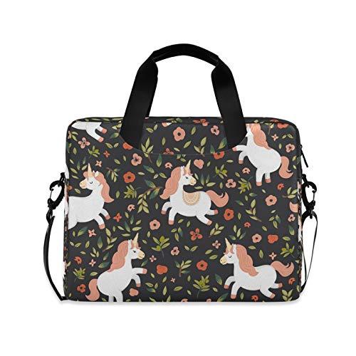 OOWOW Laptop Bag for Women Men Animal Unicorn Flower Pattern Lightweight Briefcase 14 15.6 16in Laptop Sleeve Case Computer Shoulder Messenger Bag