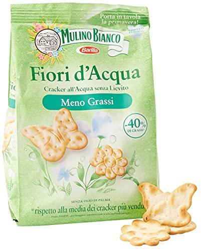 Mulino Bianco Cracker Fiori d'Acqua con Meno Grassi, Snack Salato per la Merenda, Senza Olio di...