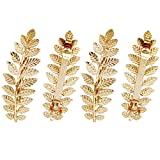 4 Pcs Gold Toga Party Halloween Greek Goddess Costume Gold Leaves Hair Barrettes (Halloween Gold Leaf Hair Clips)