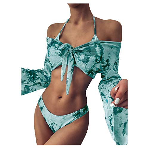 xingguang Traje de baño de mujer con camiseta de tubo sexy de teñido anudado para nadar con cordones + manga larga Cove-up juego de tres piezas de verano ropa de playa (color: verde, tamaño: S)