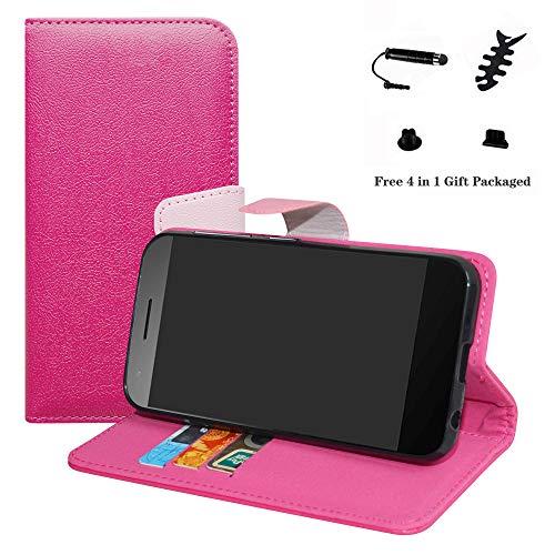 LFDZ Vodafone Smart E8 Hülle, [Standfunktion] [Kartenfächern] PU-Leder Schutzhülle Brieftasche Handyhülle für Vodafone Smart E8 Smartphone (mit 4in1 Geschenk Verpackt),Pink