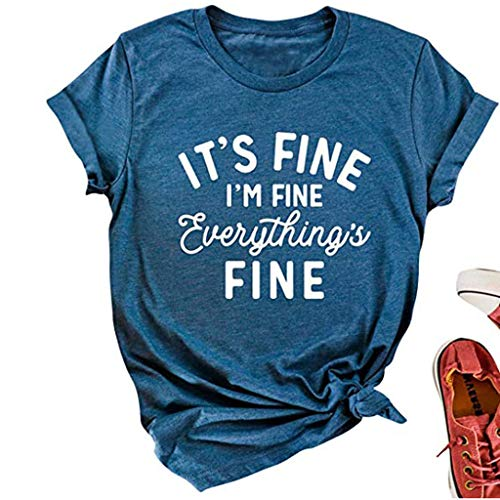 Kethorina It's Fine I'm Fine Everything is Fine Women Funny Graphic Tees Loose Tops Short Sleeve T Shirts with Sayings...