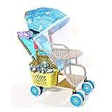 Yyqx sillas de Paseo Cochecito cómodo Choque guía Universal cojinete de Rueda Fuerte Plegable Ligero Ligero sillas de Mimbre cochecitos Coche (Color : Blue, tamaño : A)