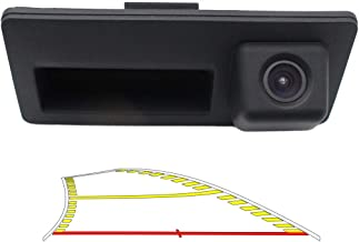 Vehicle Backup Camera with Dynamic Intelligent Trajectory Moving Guide Line Work With Audi A4L A5 A3 Q3 Q5 RS6 for VW Passat Tiguan Jetta Sharan Touareg Lavida Skoda, Car Rear View Trunk Handle Camera