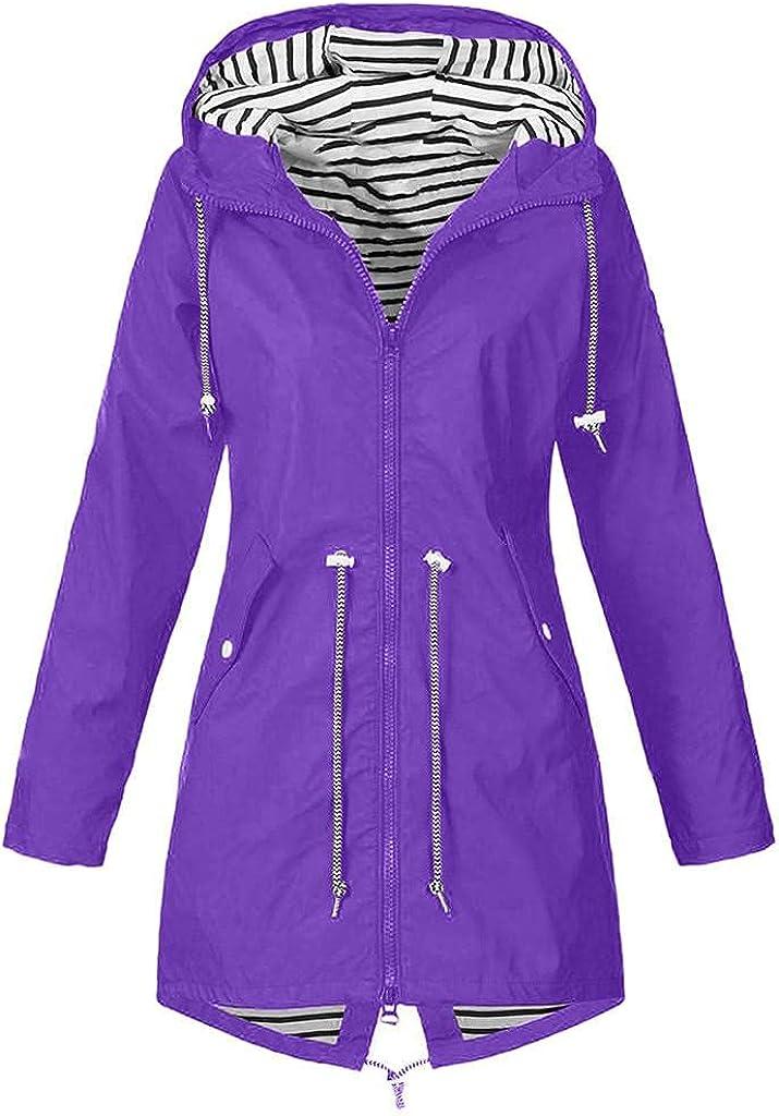 Jackets for Rain Women Waterproof Plus Size Raincoats Hooded Trench Coats Outdoor Zipper Windbreaker Travel Jacket