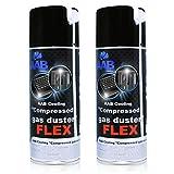 AABCOOLING Compressed Gas Duster FLEX 400ml - Conjunto de 2 - Espray Aire Comprimido con un Tubo Flexible, Spray Limpiador, Duster de Aire Comprimido, Spray Aire
