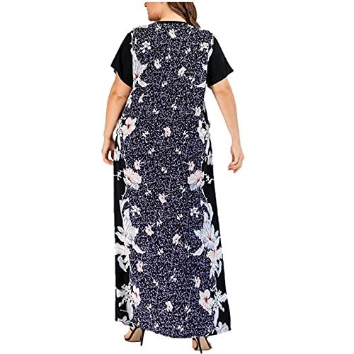 Vestidos de verano para mujer en el Reino Unido, venta de kaftan, tallas grandes, casual, moda impresa, flores, verano, cuello en V, vestido de túnica casual, vestido de cena, vestido de fiesta