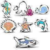 Olywee Juego de 7 cortadores de galletas de mar con forma de cola de sirena, delfín, pez payaso, caballito de mar, concha, pulpo, estrella de mar y medusas para niños de acero inoxidable