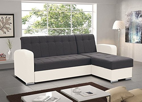 Don Baraton anticrisis.net Sofa Chaise Longue Cama con arcón – Salerno (Gris/Blanco, Chaise Longue Derecha)