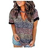 Dasongff Camiseta de manga corta para mujer, parte superior de verano, estampado de leopardo, rayas, manga corta, cuello en V, blusa de leopardo, camiseta para adolescentes y niñas, Multicolor84., S