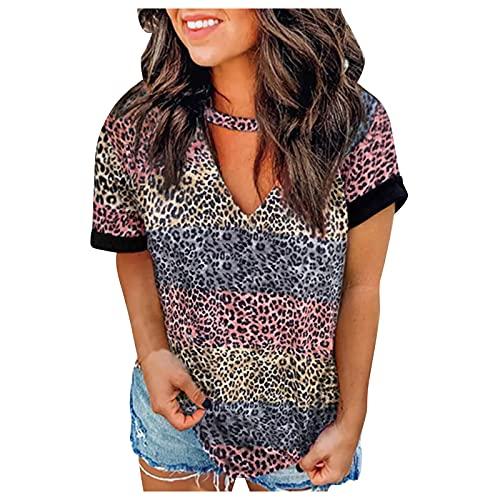 Dasongff Camiseta de manga corta para mujer, diseño de leopardo a rayas, cuello en V, parte superior de leopardo, blusa para adolescente, niña, camiseta de manga corta, cómoda camiseta suelta.