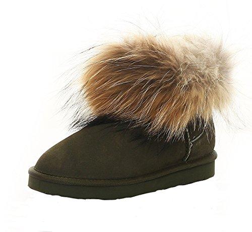 SKUTARI® LEDER Damen Winter Boots Warm Gefüttert Schlupf-Stiefel mit Stabile Sohle Weiche Fell (38 EU, Grün)