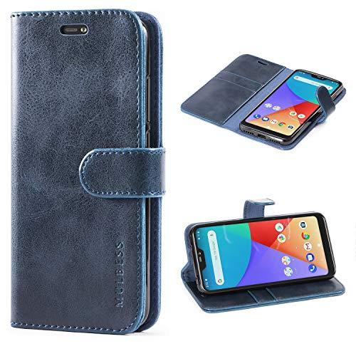 Mulbess Funda Xiaomi Mi A2 Lite [Libro Caso Cubierta] [Vintage de Billetera Cuero de la PU] con Tapa Magnética Carcasa para Xiaomi Mi A2 Lite Case, Azul Marino