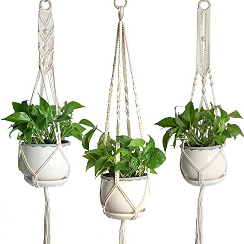 Wallfire Support pour Plante de jardinière Suspendue pour Pots de Plantes en macramé pour Bureau de Jardin à la Maison - 3 Pack différents