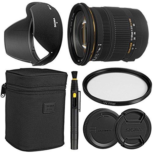 Sigma17-50mm f/2.8 EX DC OS HSM Zoom Lens for Canon DSLRs with APS-C Sensors + Essential Bundle Kit - International...