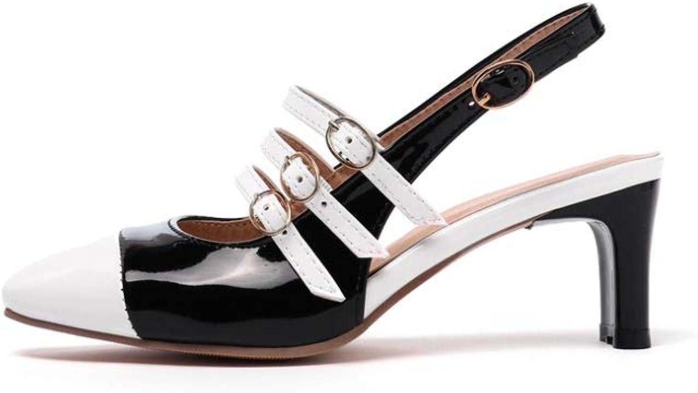 Btrada kvinnor High klackar Sandals Mode Point Point Point Toe Blandade Färgskor Slingback Party bröllop skor  ej att förglömma!