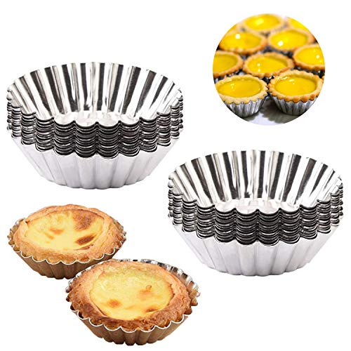 Egg Tart Molds, Amatted 50 PCS Reusable Tinplate Baking Cups Non-Stick Cupcake Cake Muffin Moulds Mini Pie Tin Tartlet Pans Puto Cup Chocolate Molds DIY Baking Tools (Tinplate)